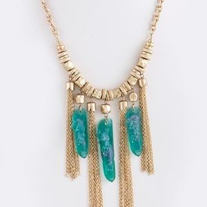 Mint green stone Druzy tassel gold necklace new